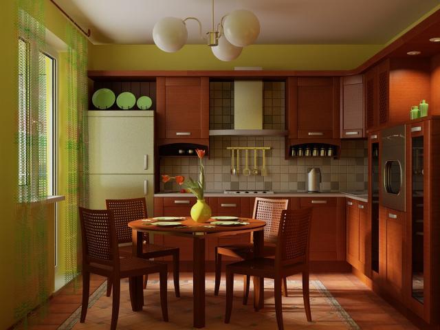 Зеленые обои для кухни дизайн фото