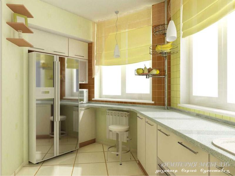 Дизайн кухни на балконе.